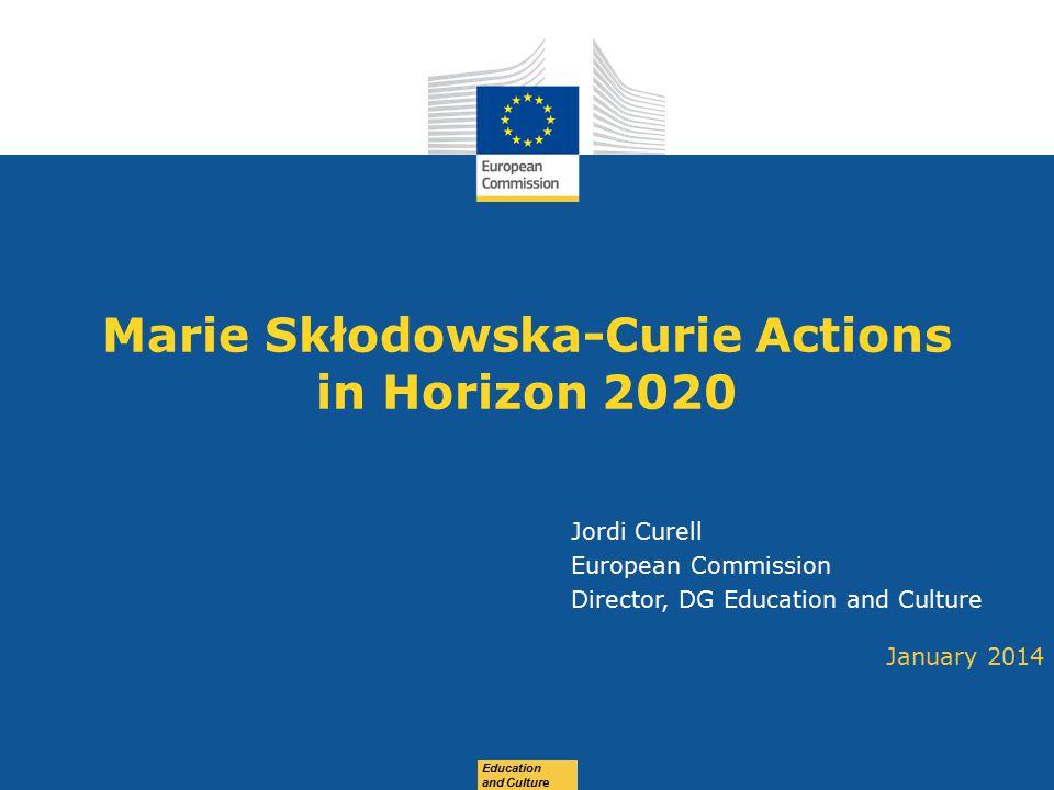 Date: in 12 pts Education and Culture Marie Skłodowska-Curie Actions in Horizon 2020 January 2014 Jordi Curell European Commission Director, DG Educat