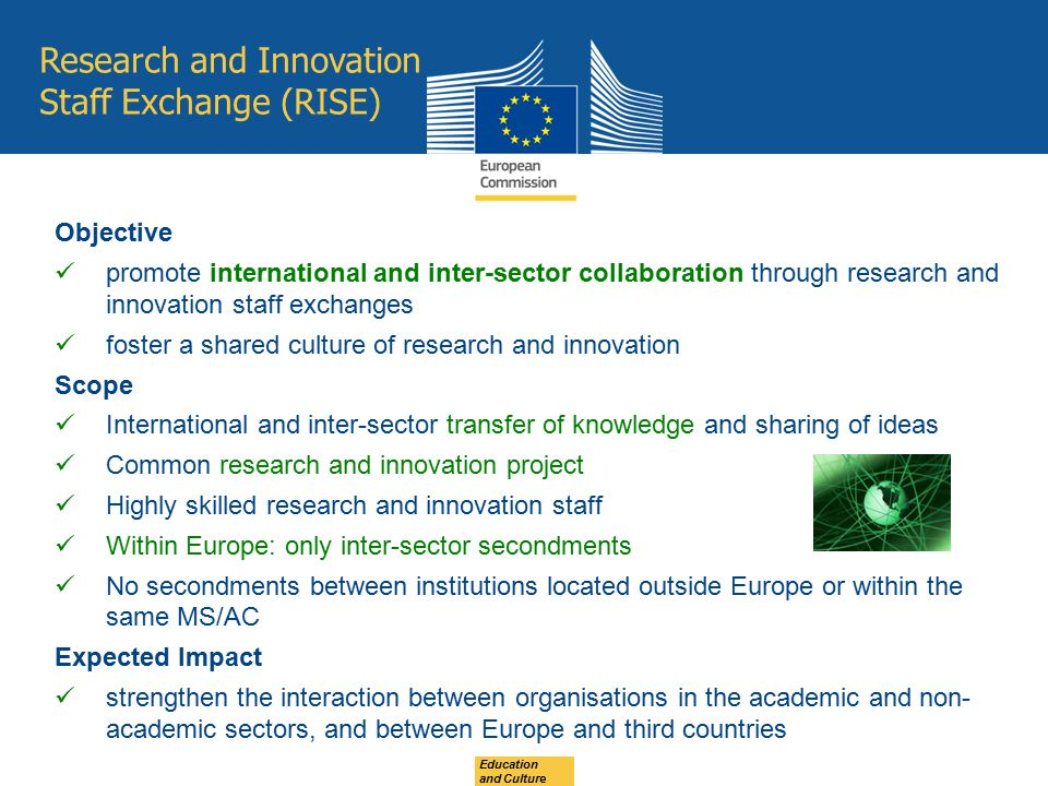 Research and Innovation Staff Exchange (RISE) Objective promote international and inter-sector collaboration through research and innovation staff exc