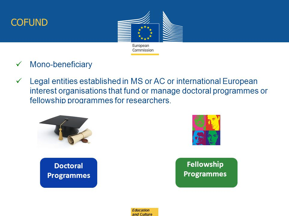 Education and Culture COFUND Mono-beneficiary Legal entities established in MS or AC or international European interest organisations that fund or man
