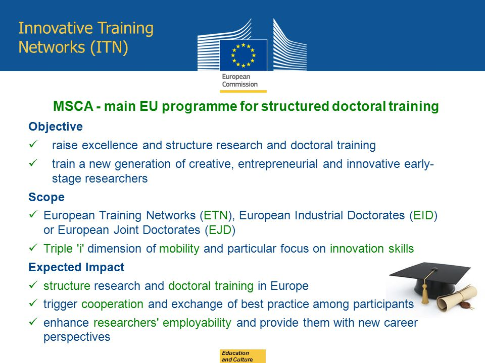 Innovative Training Networks (ITN) Objective raise excellence and structure research and doctoral training train a new generation of creative, entrepr