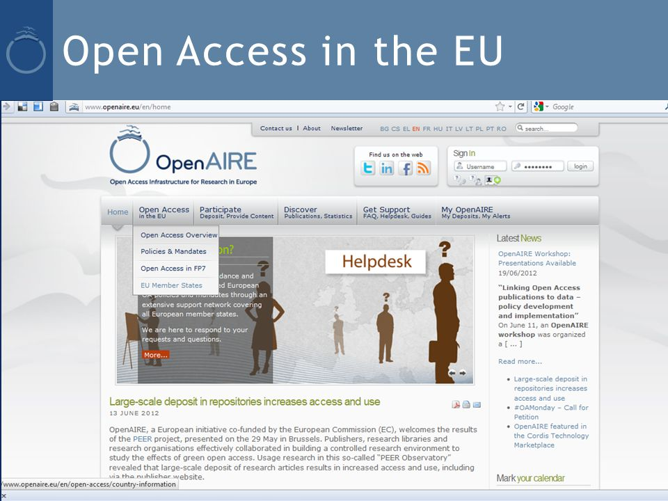 Open Access in the EU OpenAIRE/plus Advisory Board, 12 June 2012, Copenhagen 19