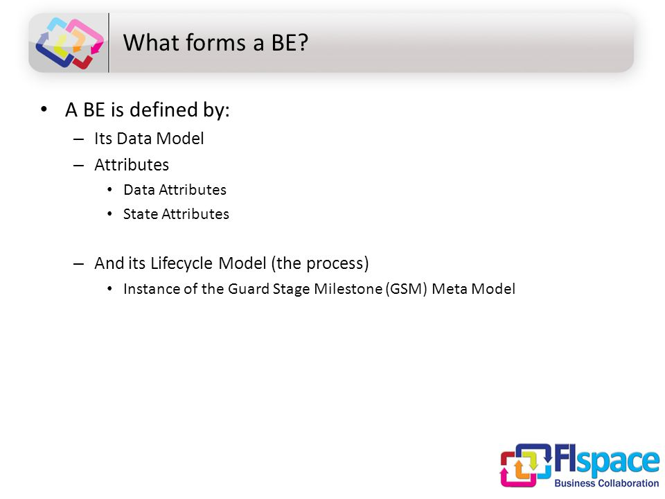 What forms a BE? A BE is defined by: – Its Data Model – Attributes Data Attributes State Attributes – And its Lifecycle Model (the process) Instance o