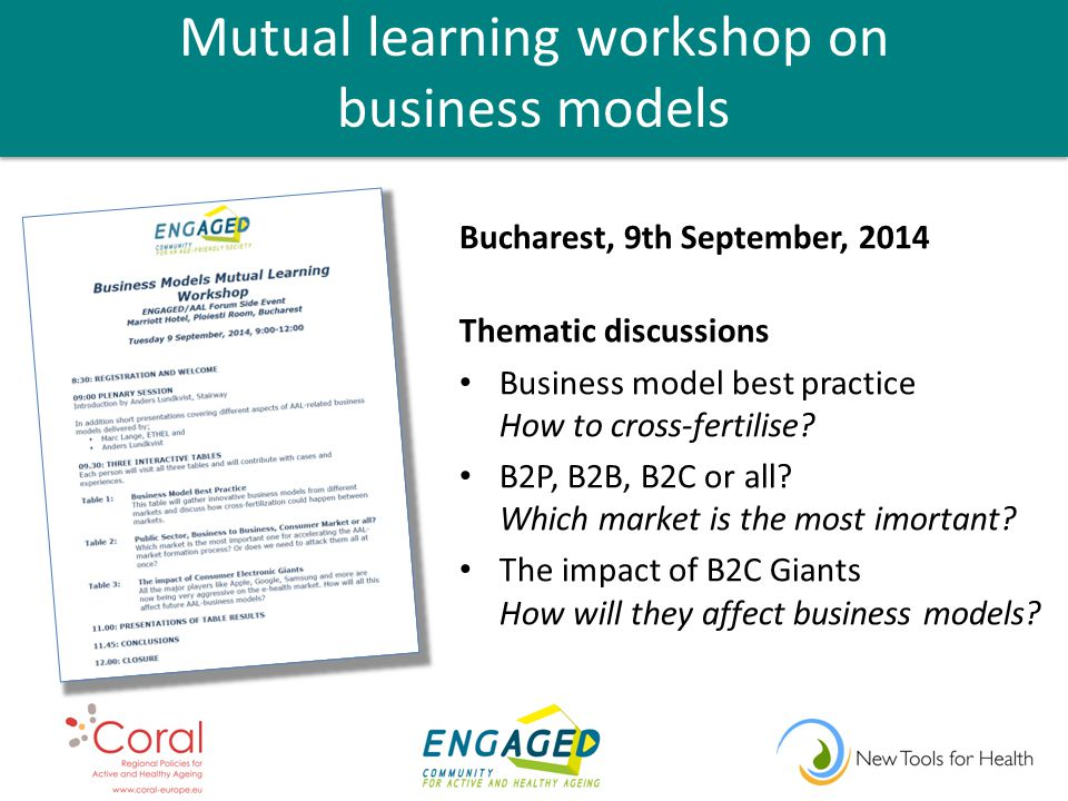 Mutual learning workshop on business models Bucharest, 9th September, 2014 Thematic discussions Business model best practice How to cross-fertilise.