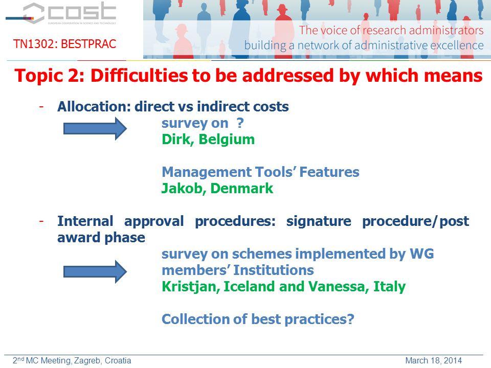 TN1302: BESTPRAC 2 nd MC Meeting, Zagreb, Croatia March 18, 2014 -Allocation: direct vs indirect costs survey on .