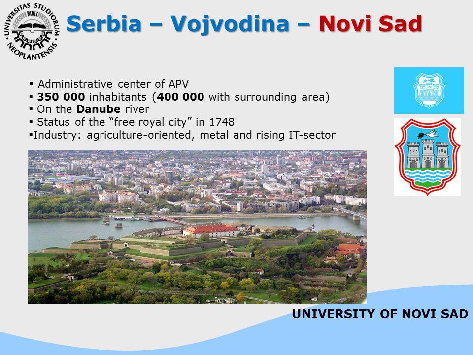Serbia – Vojvodina – Novi Sad  Administrative center of APV  350 000 inhabitants (400 000 with surrounding area)  On the Danube river  Status of t
