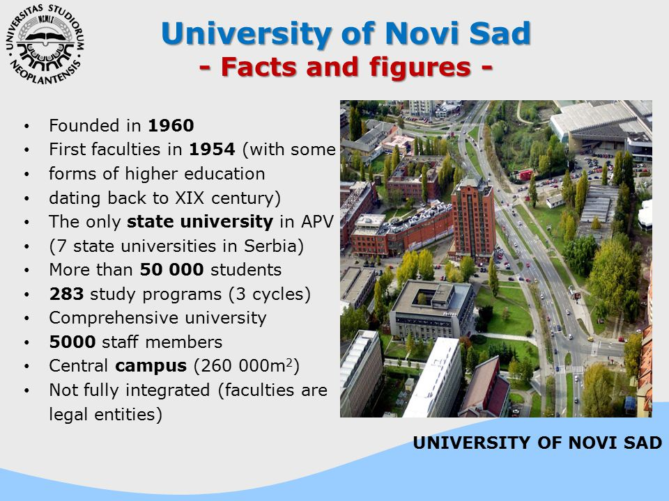 Founded in 1960 First faculties in 1954 (with some forms of higher education dating back to XIX century) The only state university in APV (7 state uni