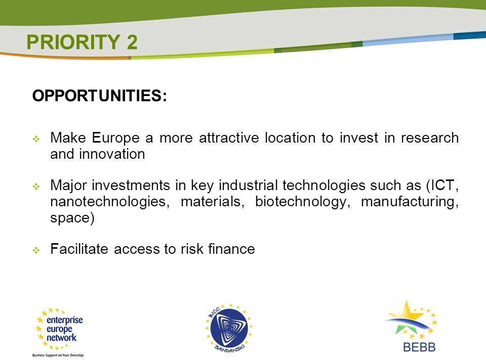 OPPORTUNITIES:  Make Europe a more attractive location to invest in research and innovation  Major investments in key industrial technologies such as (ICT, nanotechnologies, materials, biotechnology, manufacturing, space)  Facilitate access to risk finance PRIORITY 2