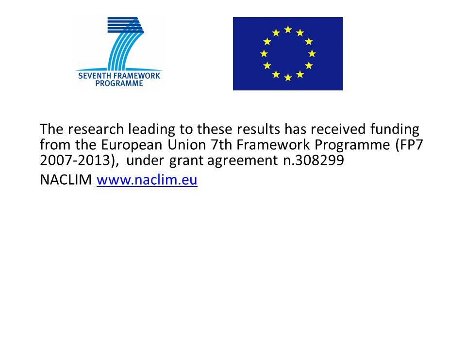 The research leading to these results has received funding from the European Union 7th Framework Programme (FP7 2007-2013), under grant agreement n.308299 NACLIM www.naclim.euwww.naclim.eu