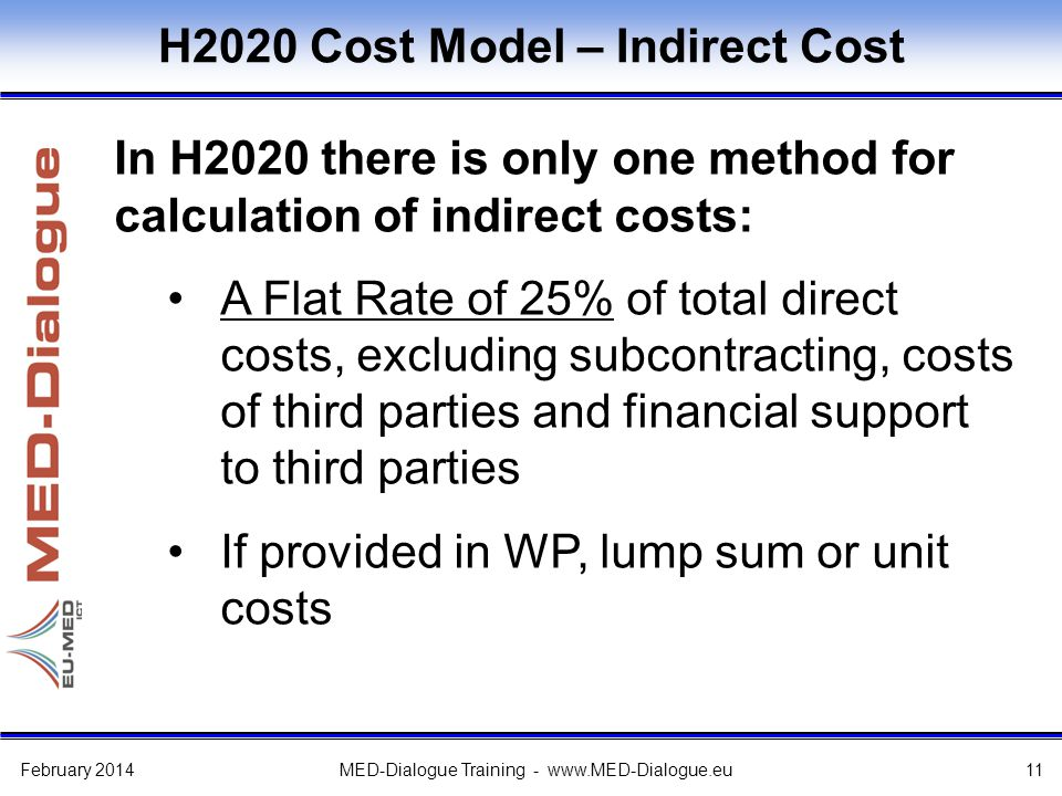 H2020 Cost Model – Indirect Cost In H2020 there is only one method for calculation of indirect costs: A Flat Rate of 25% of total direct costs, excluding subcontracting, costs of third parties and financial support to third parties If provided in WP, lump sum or unit costs February 2014MED-Dialogue Training - www.MED-Dialogue.eu11