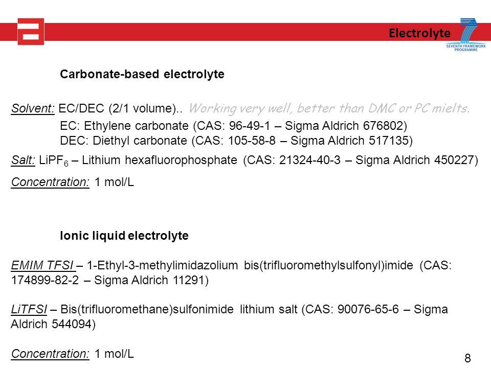 8 Electrolyte Carbonate-based electrolyte Solvent: EC/DEC (2/1 volume)..
