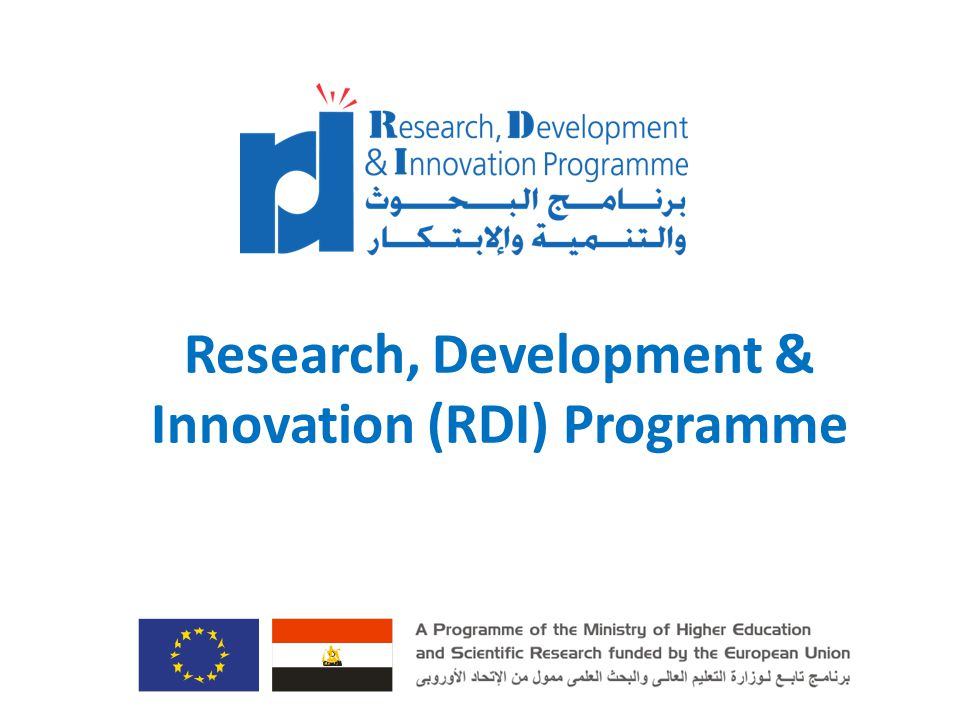 RDI Objectives Improving the Egyptian Research, Development and Innovation Performance through: 1.Strengthening the link between Research and Development (R&D) sector and the industry while enhancing the innovation and technology transfer culture 2.Facilitating Egyptian Participation in the European Research Area Researchers Industry RDI Programme