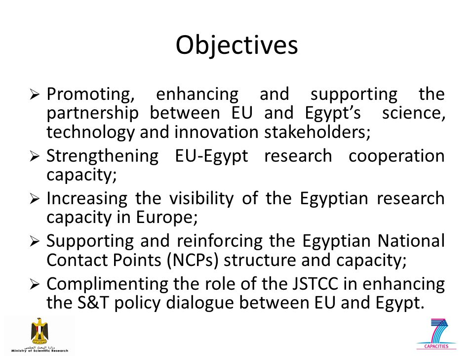 Supporting NCP Structure Increasing the visibility of Egypt's research capacity to EU Synergizing with Bilateral Programmes & Regional Projects Assessing EU- Egypt S&T Cooperation Fostering EU- Egypt Partnership