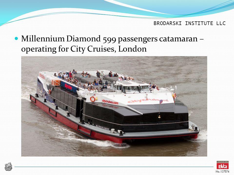 BRODARSKI INSTITUTE LLC No.137574 Millennium Diamond 599 passengers catamaran – operating for City Cruises, London