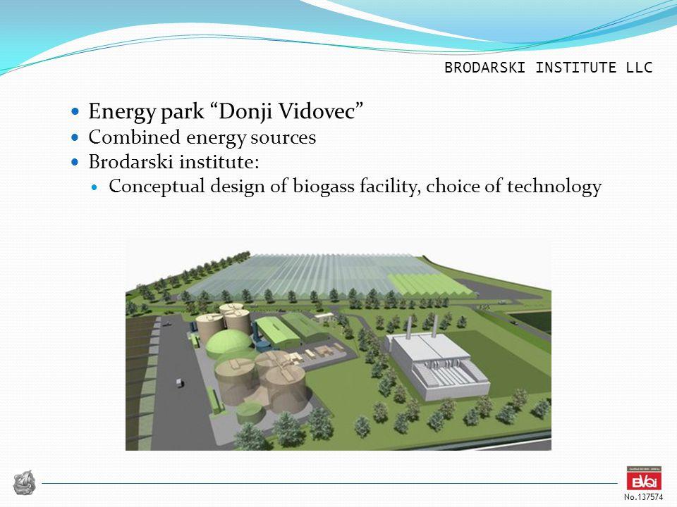 BRODARSKI INSTITUTE LLC No.137574 Energy park Donji Vidovec Combined energy sources Brodarski institute: Conceptual design of biogass facility, choice of technology