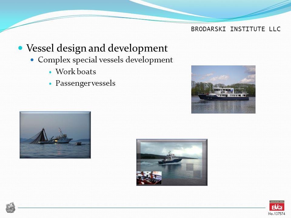 BRODARSKI INSTITUTE LLC No.137574 Vessel design and development Complex special vessels development Work boats Passenger vessels