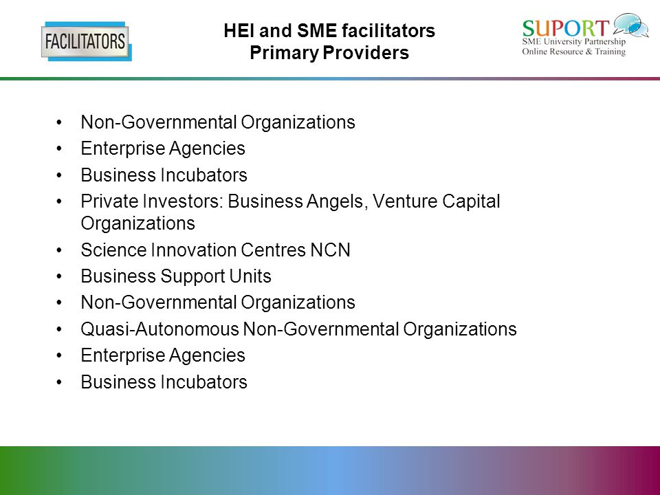 HEI and SME facilitators Primary Providers Non-Governmental Organizations Enterprise Agencies Business Incubators Private Investors: Business Angels, Venture Capital Organizations Science Innovation Centres NCN Business Support Units Non-Governmental Organizations Quasi-Autonomous Non-Governmental Organizations Enterprise Agencies Business Incubators