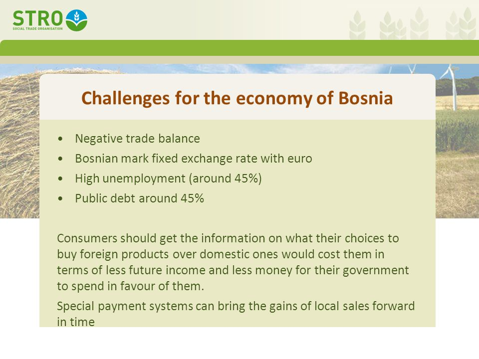 Challenges for the economy of Bosnia Negative trade balance Bosnian mark fixed exchange rate with euro High unemployment (around 45%) Public debt around 45% Consumers should get the information on what their choices to buy foreign products over domestic ones would cost them in terms of less future income and less money for their government to spend in favour of them.