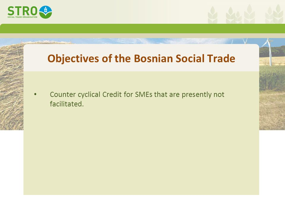 Objectives of the Bosnian Social Trade Counter cyclical Credit for SMEs that are presently not facilitated.