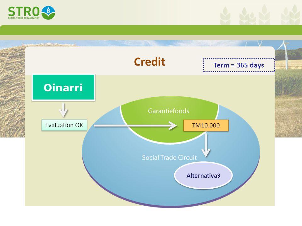 Credit Alternativa3 Oinarri TM10.000 Evaluation OK Term = 365 days