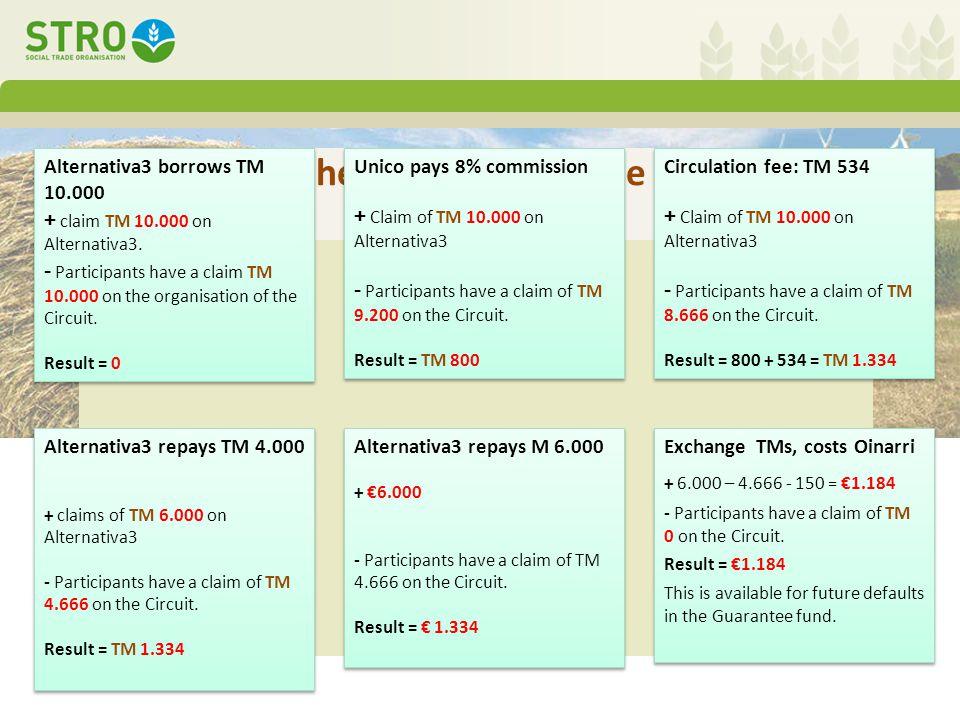 Bijlage: het huishoudboekje van de coöperatie Alternativa3 borrows TM 10.000 + claim TM 10.000 on Alternativa3.