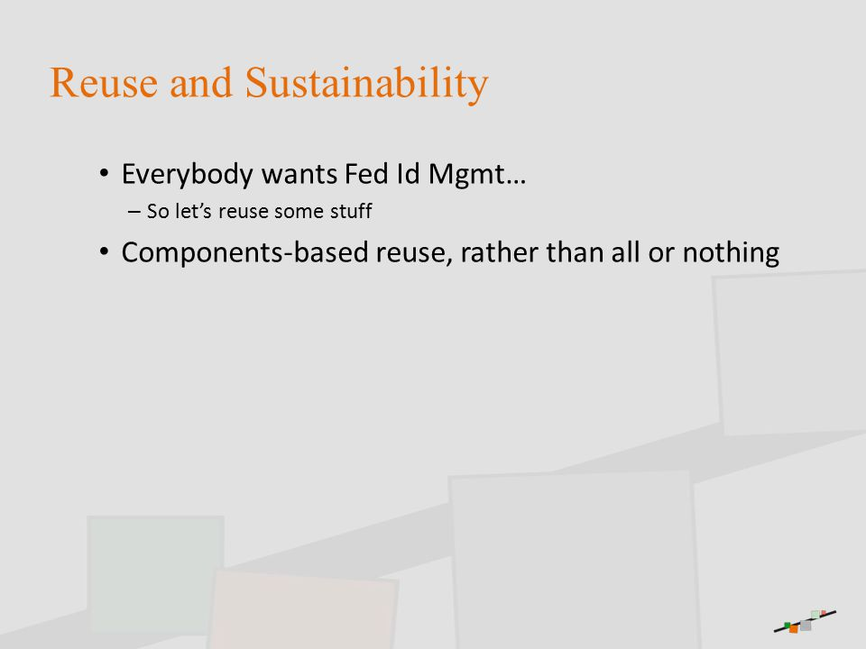 Reuse and Sustainability Everybody wants Fed Id Mgmt… – So let's reuse some stuff Components-based reuse, rather than all or nothing