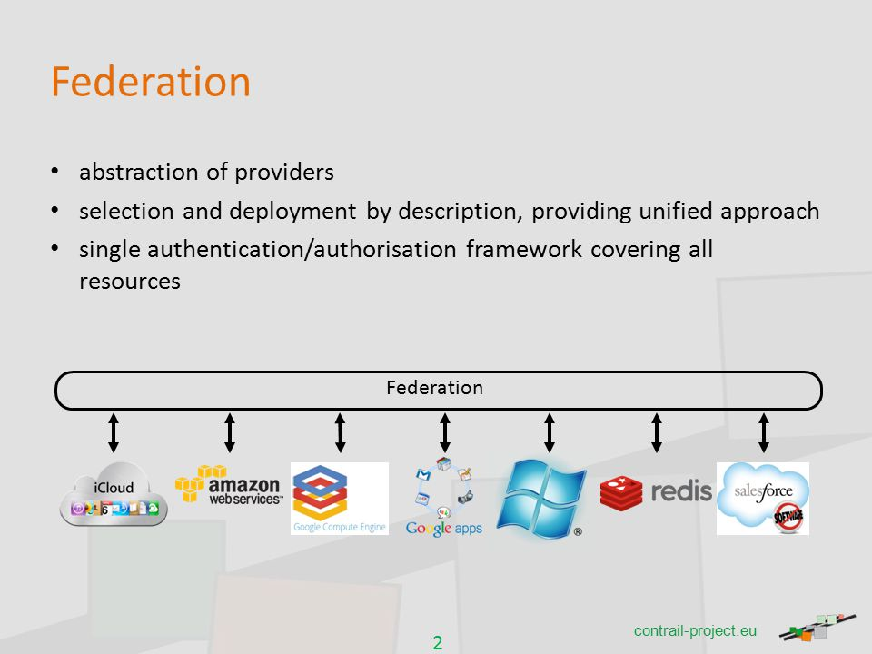 2 contrail-project.eu Federation abstraction of providers selection and deployment by description, providing unified approach single authentication/authorisation framework covering all resources Federation