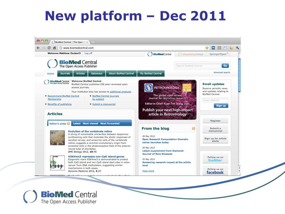 New platform – Dec 2011