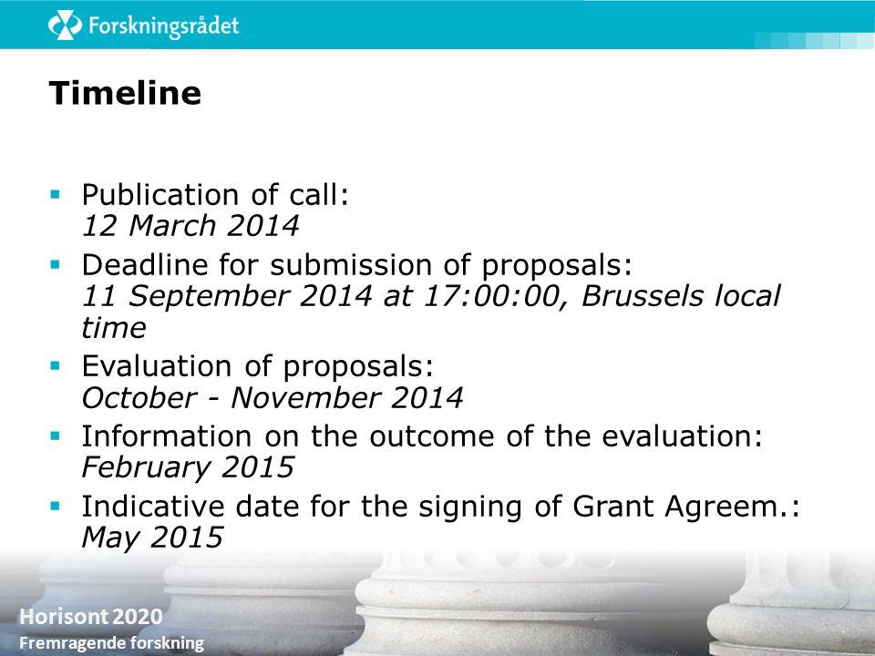 Horisont 2020 Fremragende forskning Timeline  Publication of call: 12 March 2014  Deadline for submission of proposals: 11 September 2014 at 17:00:0