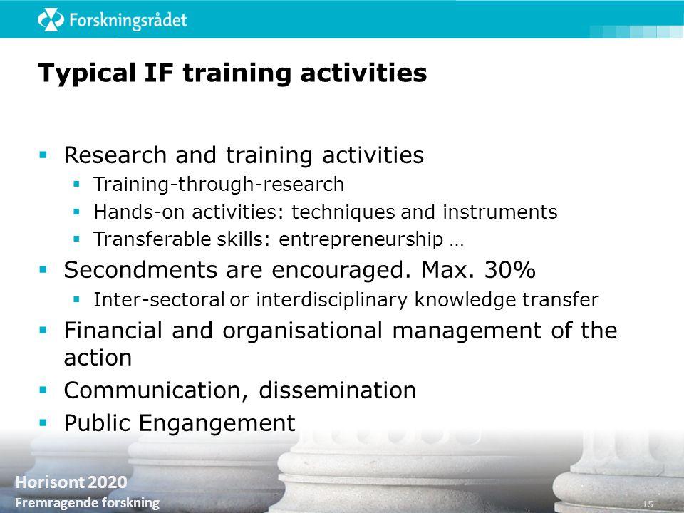 Horisont 2020 Fremragende forskning Typical IF training activities  Research and training activities  Training-through-research  Hands-on activitie