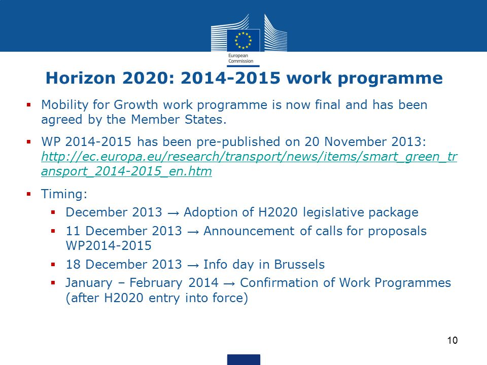 Horizon 2020: 2014-2015 work programme  Mobility for Growth work programme is now final and has been agreed by the Member States.  WP 2014-2015 has