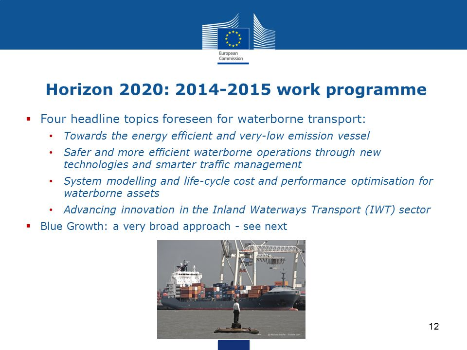 Horizon 2020: 2014-2015 work programme  Four headline topics foreseen for waterborne transport: Towards the energy efficient and very-low emission ve