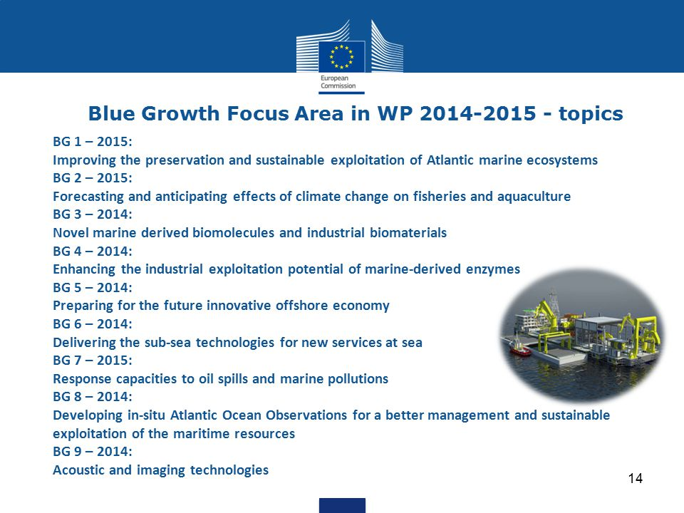 14 Blue Growth Focus Area in WP 2014-2015 - topics BG 1 – 2015: Improving the preservation and sustainable exploitation of Atlantic marine ecosystems