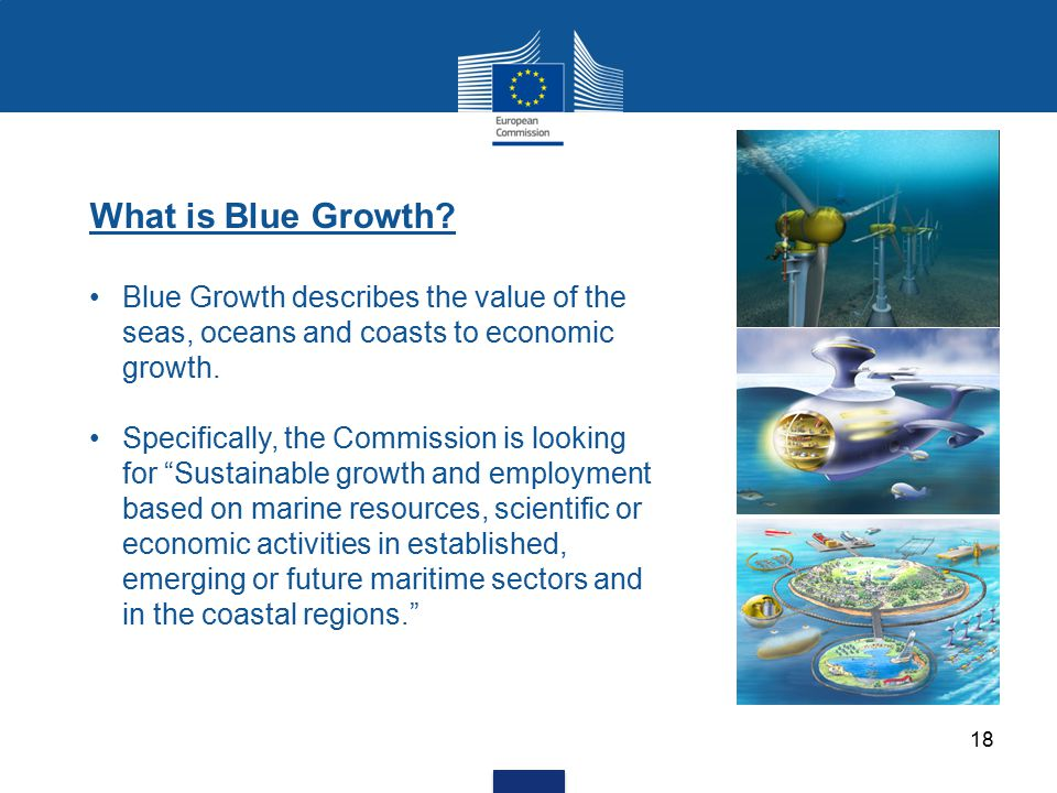 "What is Blue Growth? Blue Growth describes the value of the seas, oceans and coasts to economic growth. Specifically, the Commission is looking for ""S"