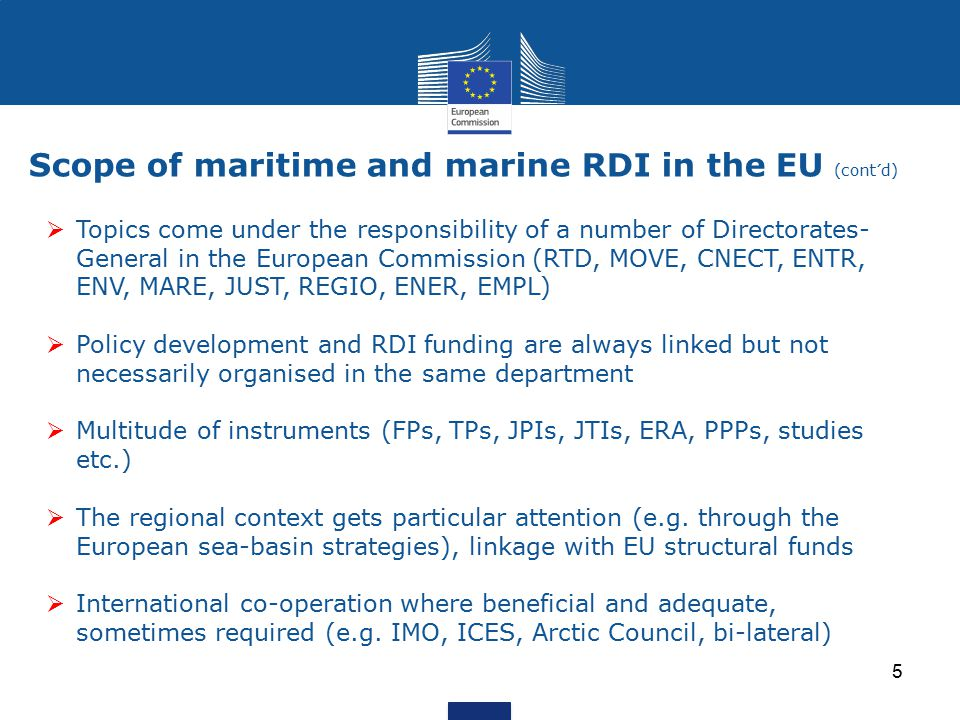 Scope of maritime and marine RDI in the EU (cont´d)  Topics come under the responsibility of a number of Directorates- General in the European Commis