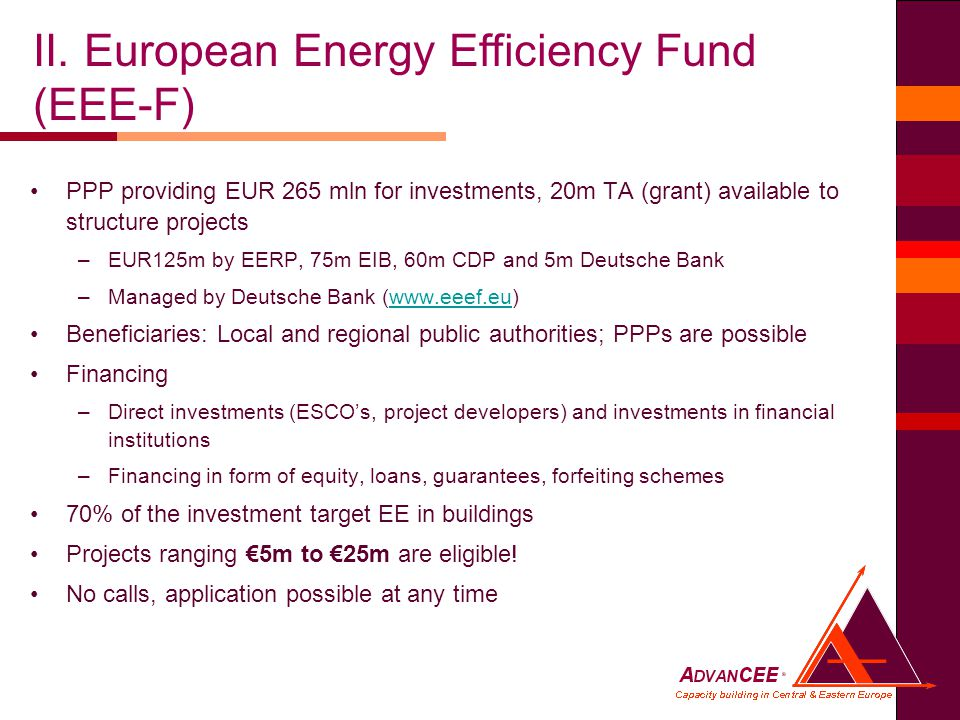 PPP providing EUR 265 mln for investments, 20m TA (grant) available to structure projects –EUR125m by EERP, 75m EIB, 60m CDP and 5m Deutsche Bank –Managed by Deutsche Bank (  Beneficiaries: Local and regional public authorities; PPPs are possible Financing –Direct investments (ESCO's, project developers) and investments in financial institutions –Financing in form of equity, loans, guarantees, forfeiting schemes 70% of the investment target EE in buildings Projects ranging €5m to €25m are eligible.