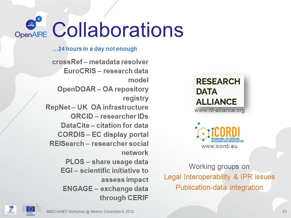 Collaborations crossRef – metadata resolver EuroCRIS – research data model OpenDOAR – OA repository registry RepNet – UK OA infrastructure ORCID – res