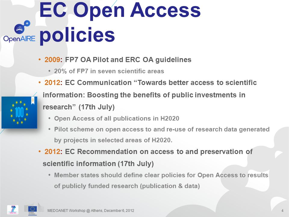 """EC Open Access policies 2009: FP7 OA Pilot and ERC OA guidelines 20% of FP7 in seven scientific areas 2012: EC Communication """"Towards better access to"""