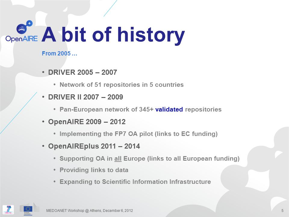 A bit of history DRIVER 2005 – 2007 Network of 51 repositories in 5 countries DRIVER II 2007 – 2009 Pan-European network of 345+ validated repositorie