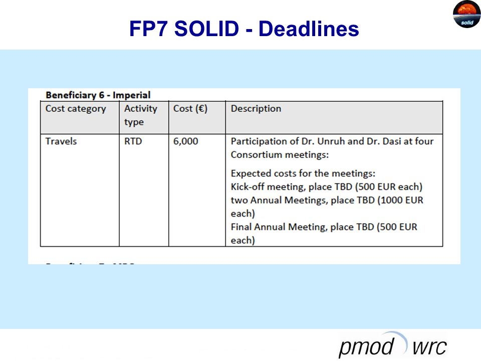 FP7 SOLID - Deadlines