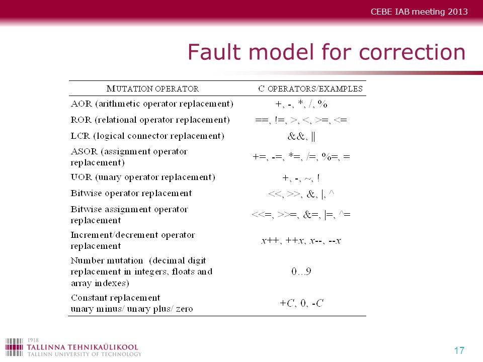 CEBE IAB meeting 2013 Fault model for correction 17