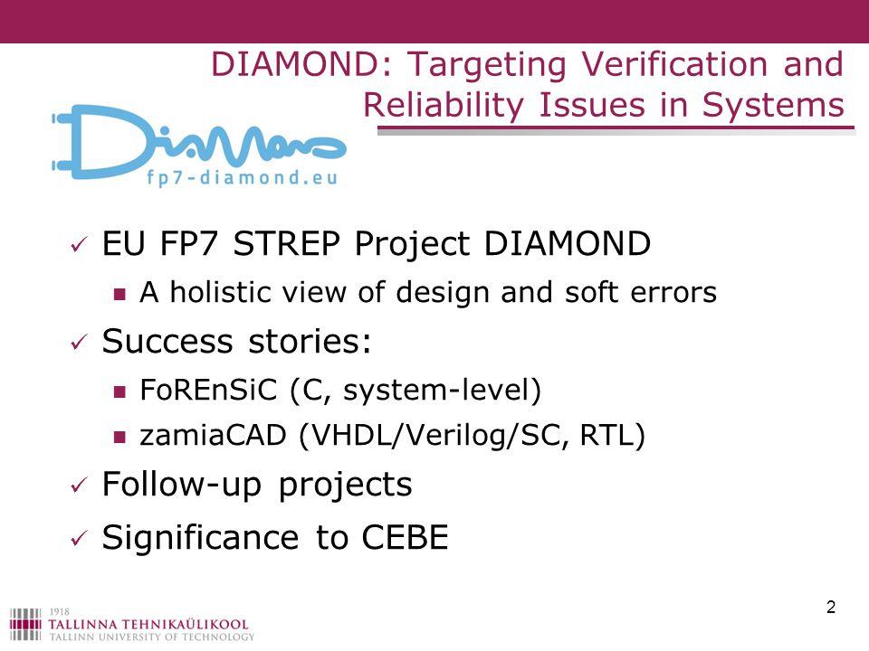 EU FP7 STREP Project DIAMOND A holistic view of design and soft errors Success stories: FoREnSiC (C, system-level) zamiaCAD (VHDL/Verilog/SC, RTL) Fol