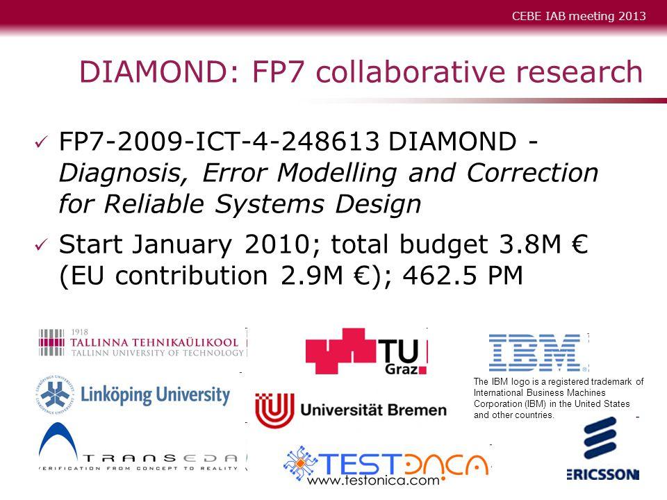 CEBE IAB meeting 2013 DIAMOND Kick-off, Tallinn, February 2-3, 2010 6 DIAMOND: FP7 collaborative research FP7-2009-ICT-4-248613 DIAMOND - Diagnosis, E