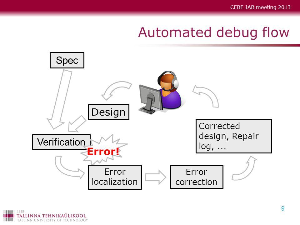 CEBE IAB meeting 2013 Automated debug flow 9 Verification Design Spec Error! Corrected design, Repair log,... Error localization Error correction