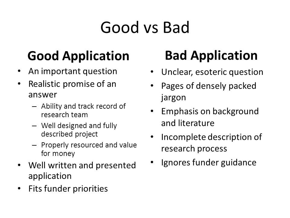 Good vs Bad Good Application An important question Realistic promise of an answer – Ability and track record of research team – Well designed and fully described project – Properly resourced and value for money Well written and presented application Fits funder priorities Bad Application Unclear, esoteric question Pages of densely packed jargon Emphasis on background and literature Incomplete description of research process Ignores funder guidance