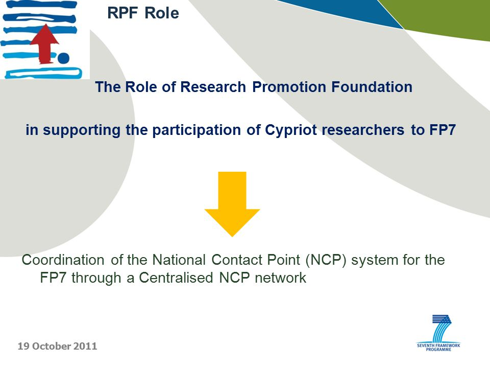 The Role of Research Promotion Foundation in supporting the participation of Cypriot researchers to FP7 Coordination of the National Contact Point (NCP) system for the FP7 through a Centralised NCP network RPF Role 19 October 2011