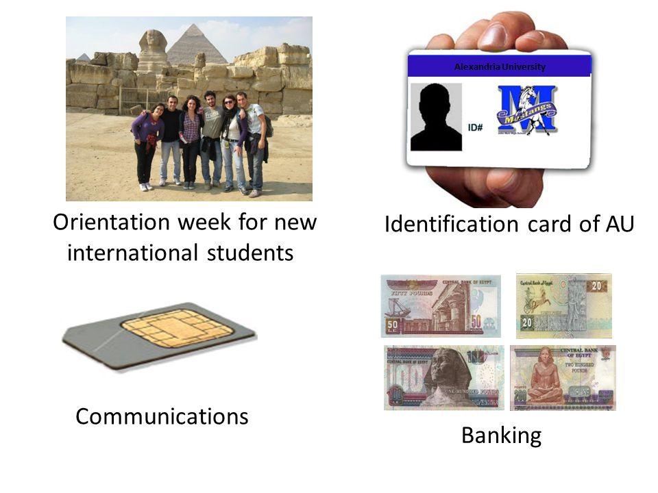 Orientation week for new international students Identification card of AU Alexandria University Communications Banking
