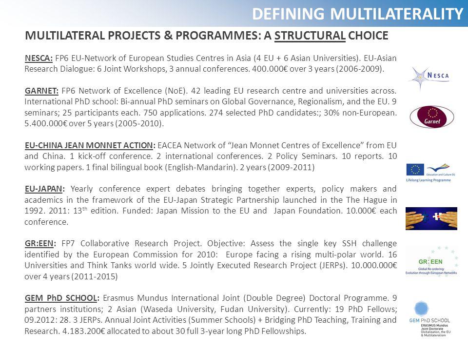MULTILATERAL PROJECTS & PROGRAMMES: A STRUCTURAL CHOICE NESCA: FP6 EU-Network of European Studies Centres in Asia (4 EU + 6 Asian Universities). EU-As