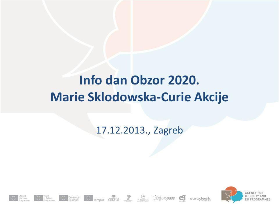 Info dan Obzor 2020. Marie Sklodowska-Curie Akcije 17.12.2013., Zagreb