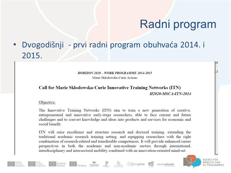 Radni program Dvogodišnji - prvi radni program obuhvaća 2014. i 2015.