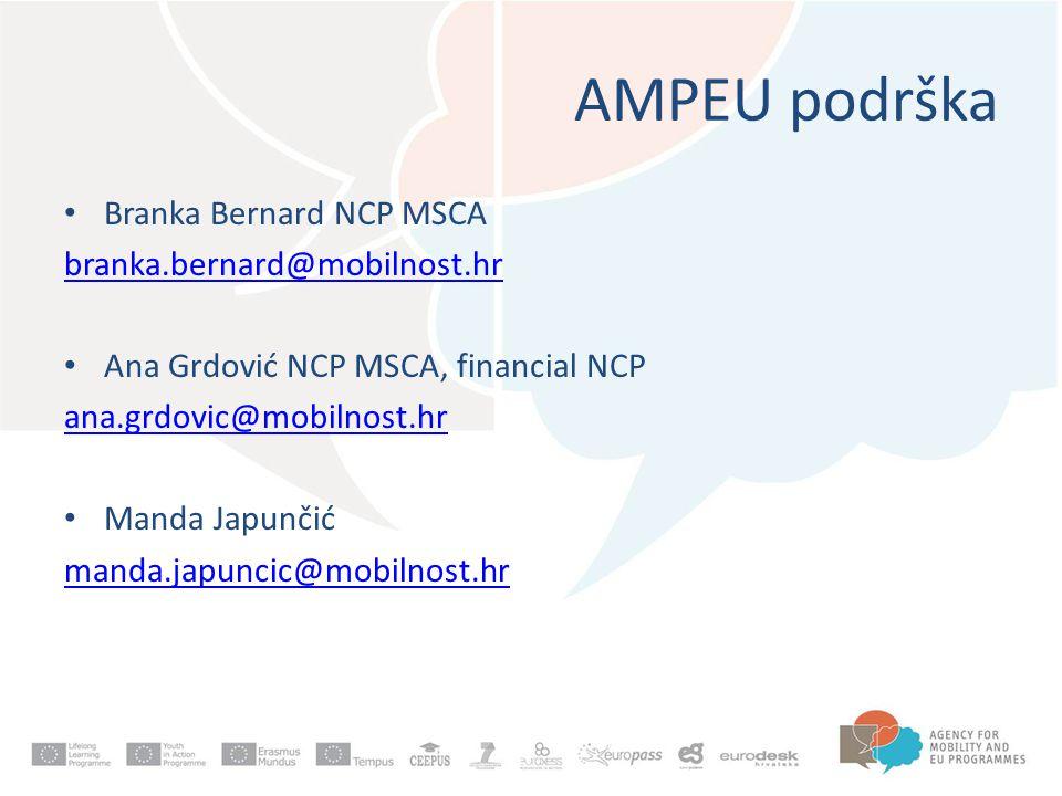 AMPEU podrška Branka Bernard NCP MSCA branka.bernard@mobilnost.hr Ana Grdović NCP MSCA, financial NCP ana.grdovic@mobilnost.hr Manda Japunčić manda.japuncic@mobilnost.hr